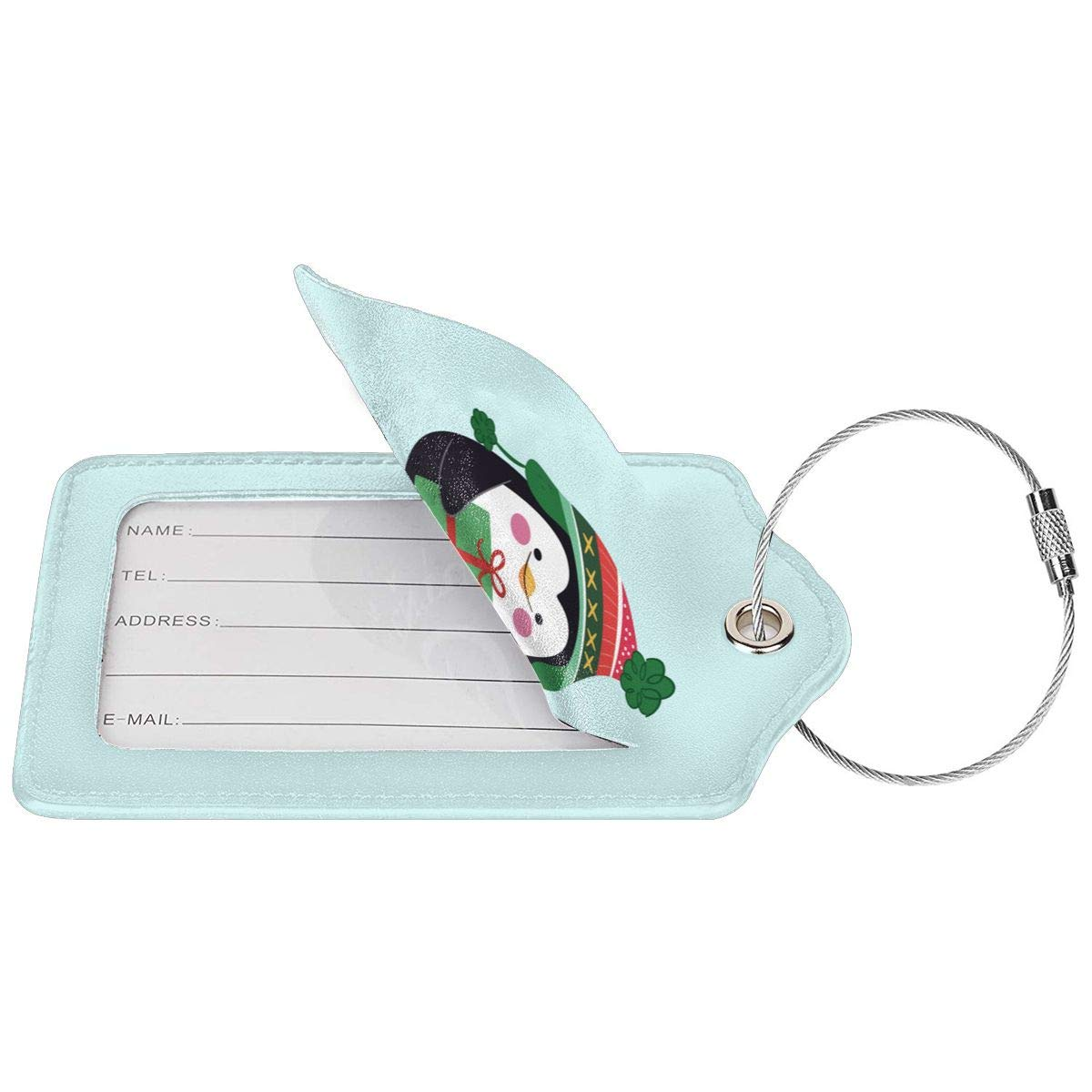 Christmas Penguin Leather Luggage Tag Travel ID Label For Baggage Suitcase