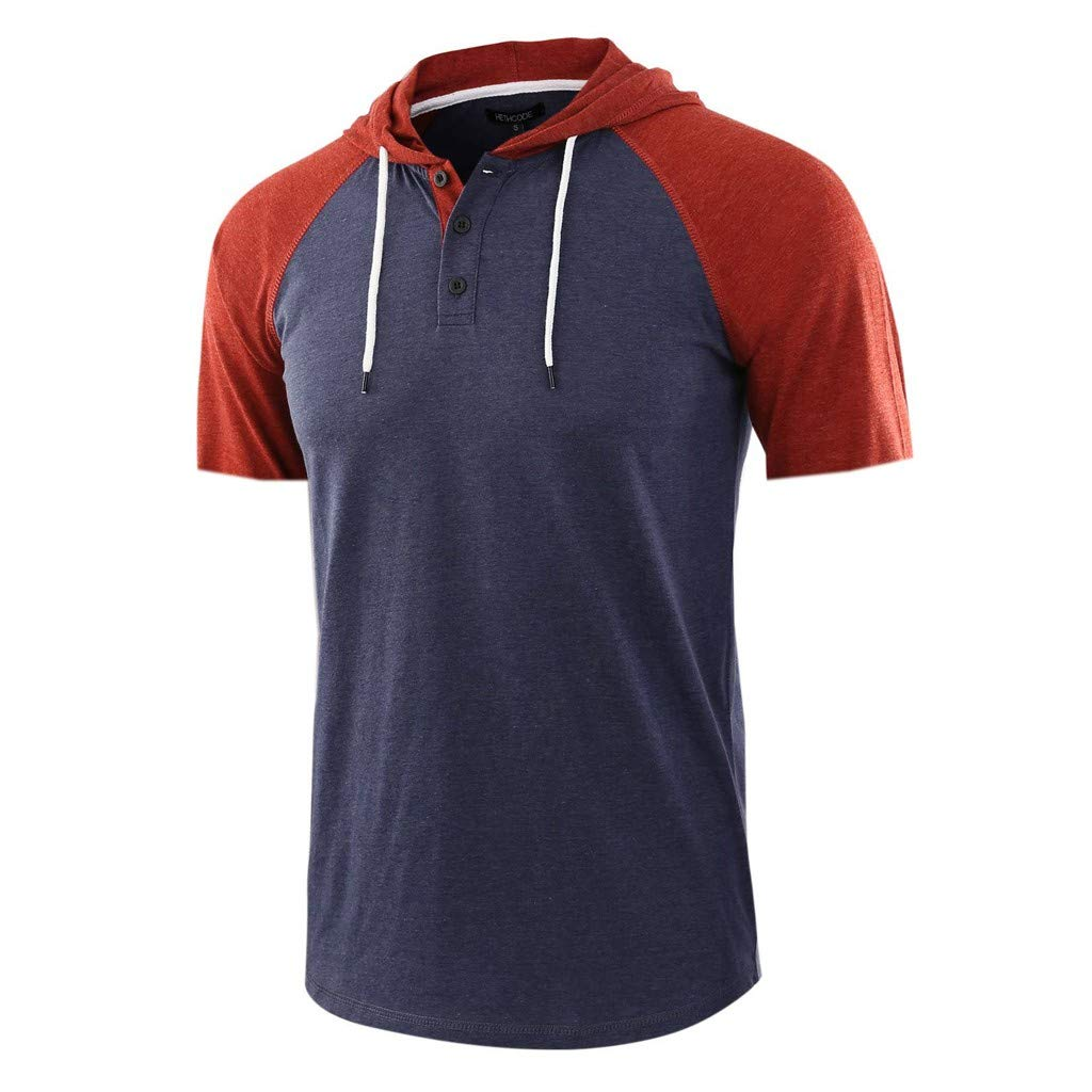Hoodie for Men, F_Gotal Men's Polo Shirts Fashion Summer Short Sleeve Patchwork Drawsting Casual Hoodie Tees Blouse Tops Navy by F_Gotal Mens Shirt