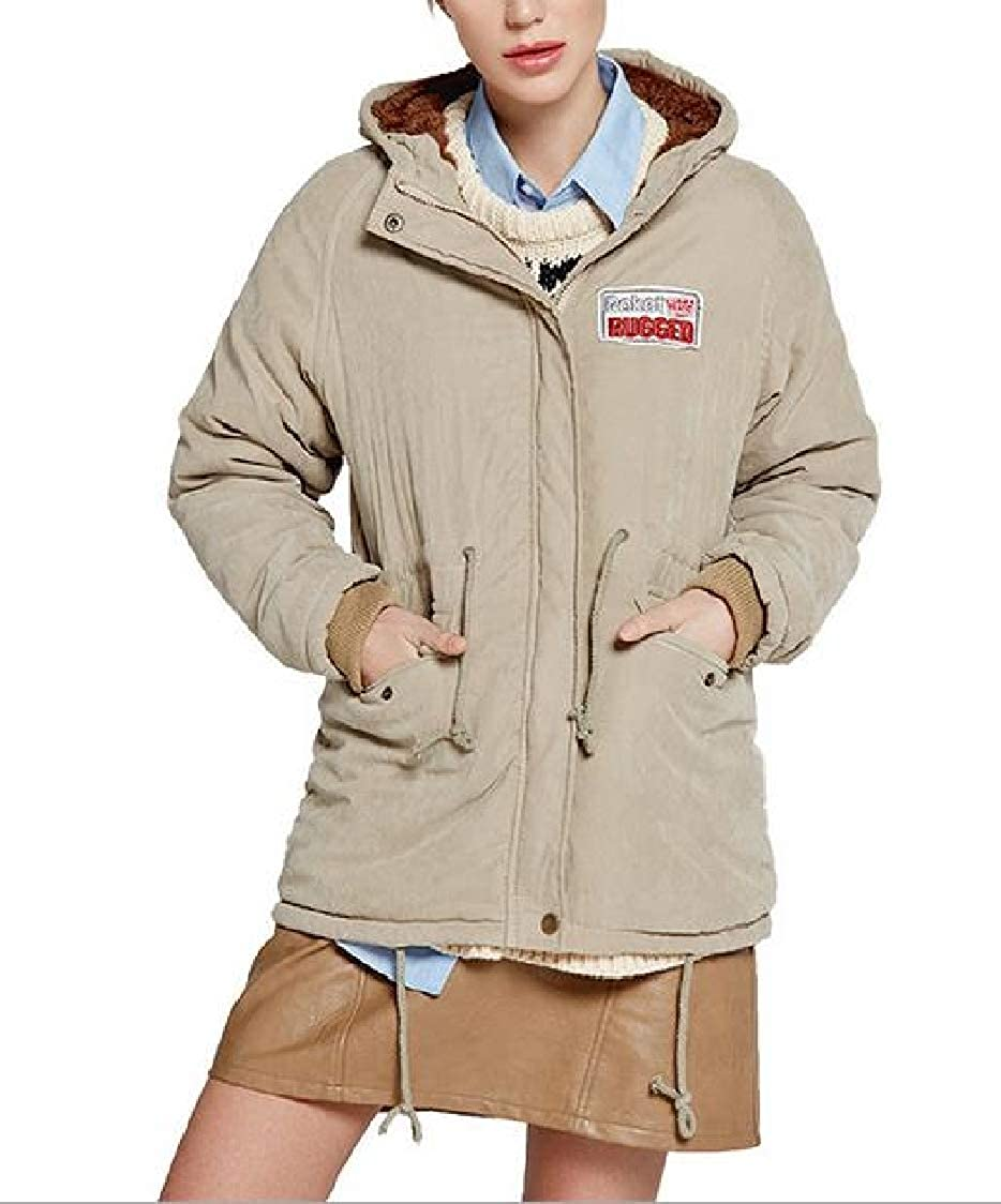 H.Wang Womens Hood Split Back Lamb Wool Casual Mid-Length Slim Fit Quilted Jacket