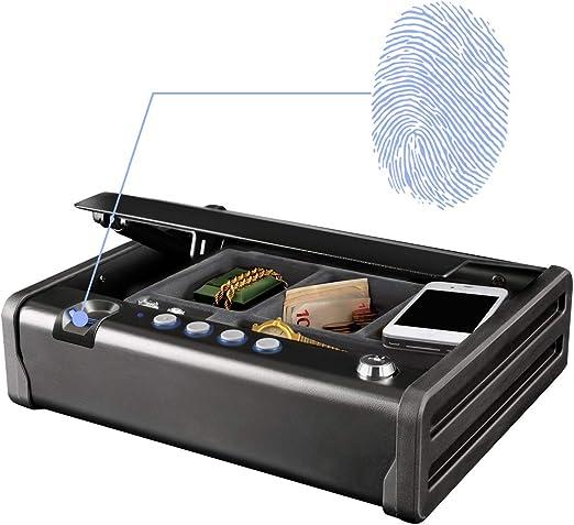 MASTER LOCK Caja Fuerte Compacta Biométrica [Apertura con Huella Dactilar y Combinación] MLD08EB - Ideal para objetos de valor, dispositivos electrónicos, pequeños, arma corta: Amazon.es: Bricolaje y herramientas