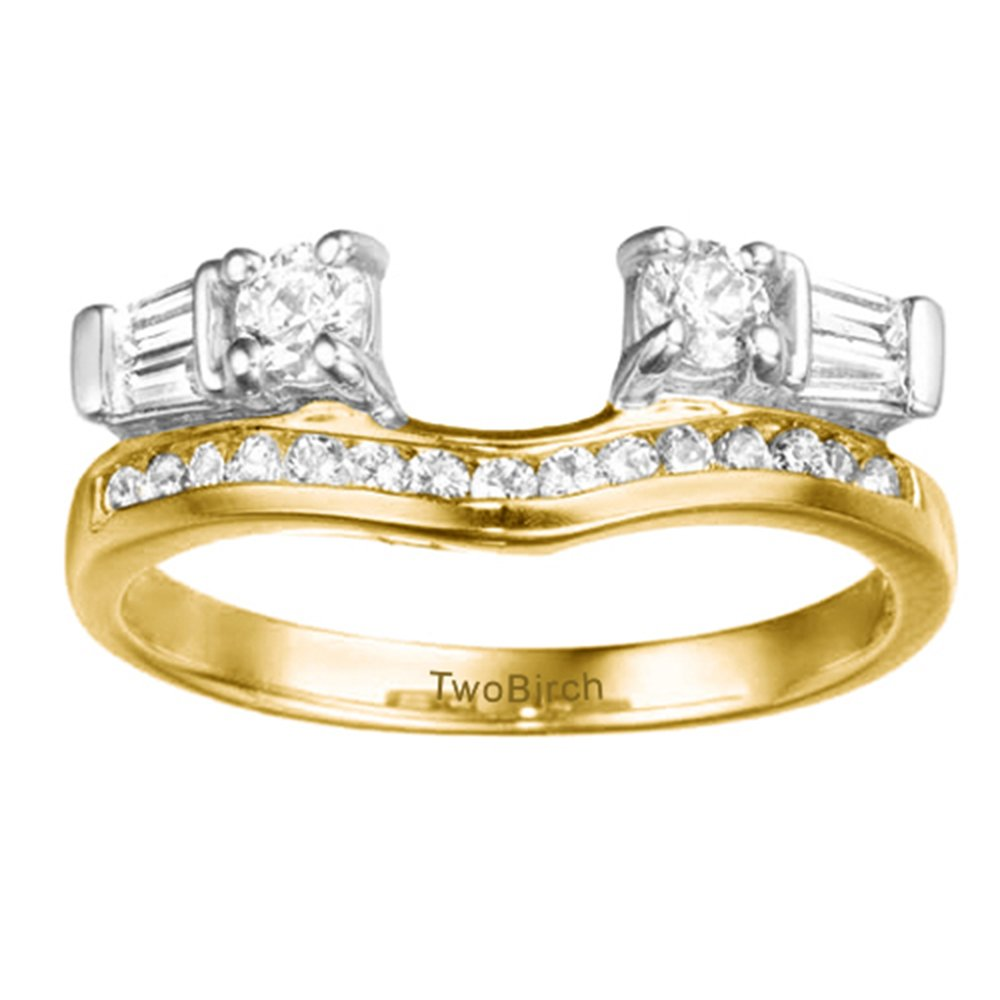 0.65 ct. CZ Contour Anniversary Ring Wrap in Two Tone Silver (0.65 ct. twt.)