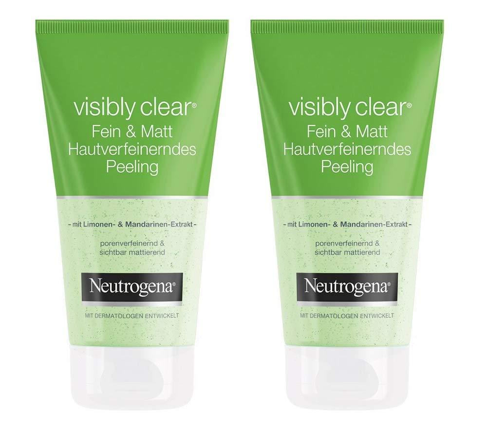 Neutrogena Visibly Clear Fein & Matt Hautverfeinerndes Peeling – Porenbefreiendes und mattierendes Waschpeeling mit Limone und Mandarinen-Extrakt – 2 x 150ml 79826