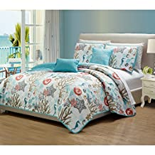 5 Piece Under The Sea Creatures Patterned Quilt Set King Size, Bold Bright Coastal Starfish Shells Sea Horses Coral Reefs Bedding, Whimsical Comfortable Modern Nature Lovers Design, Turquoise, Ivory