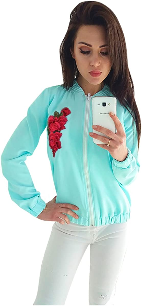 Minishion Womens Zip Embroidery Fashion Outdoor Light-Weight Jackets Tops