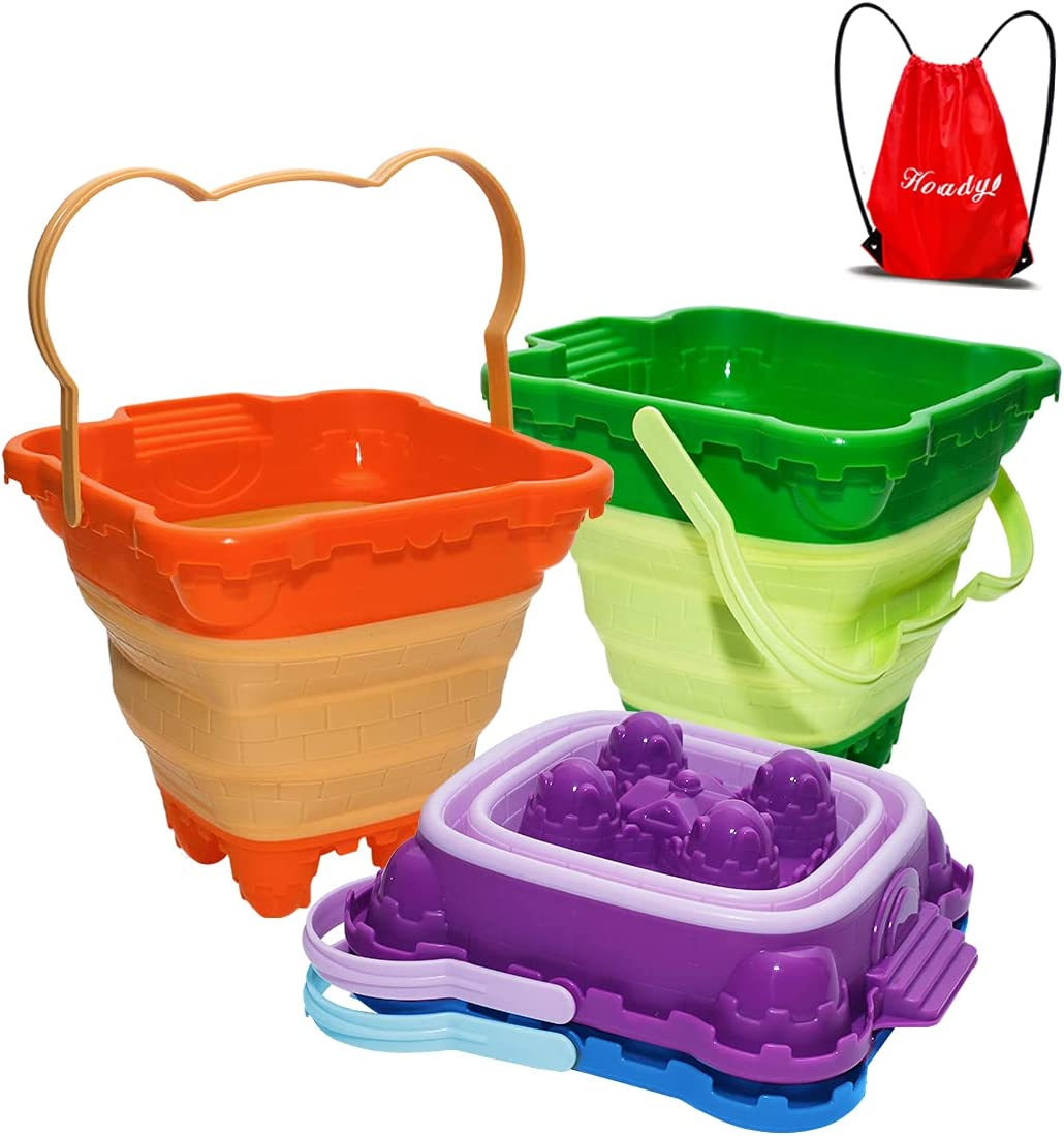 Holady Collapsible Buckets,Sand Buckets for Kids,Foldable Pail Bucket Multi Purpose for Beach, Camping Gear Water and Food Jug, Dog Bowls, Camping and Fishing Tub--4 PCS