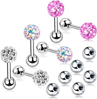 20G Stud Earrings Set for Women Girls Sensitive Ears with Screw on Backs Tragus Cartilage Jewelry ZHYAOR