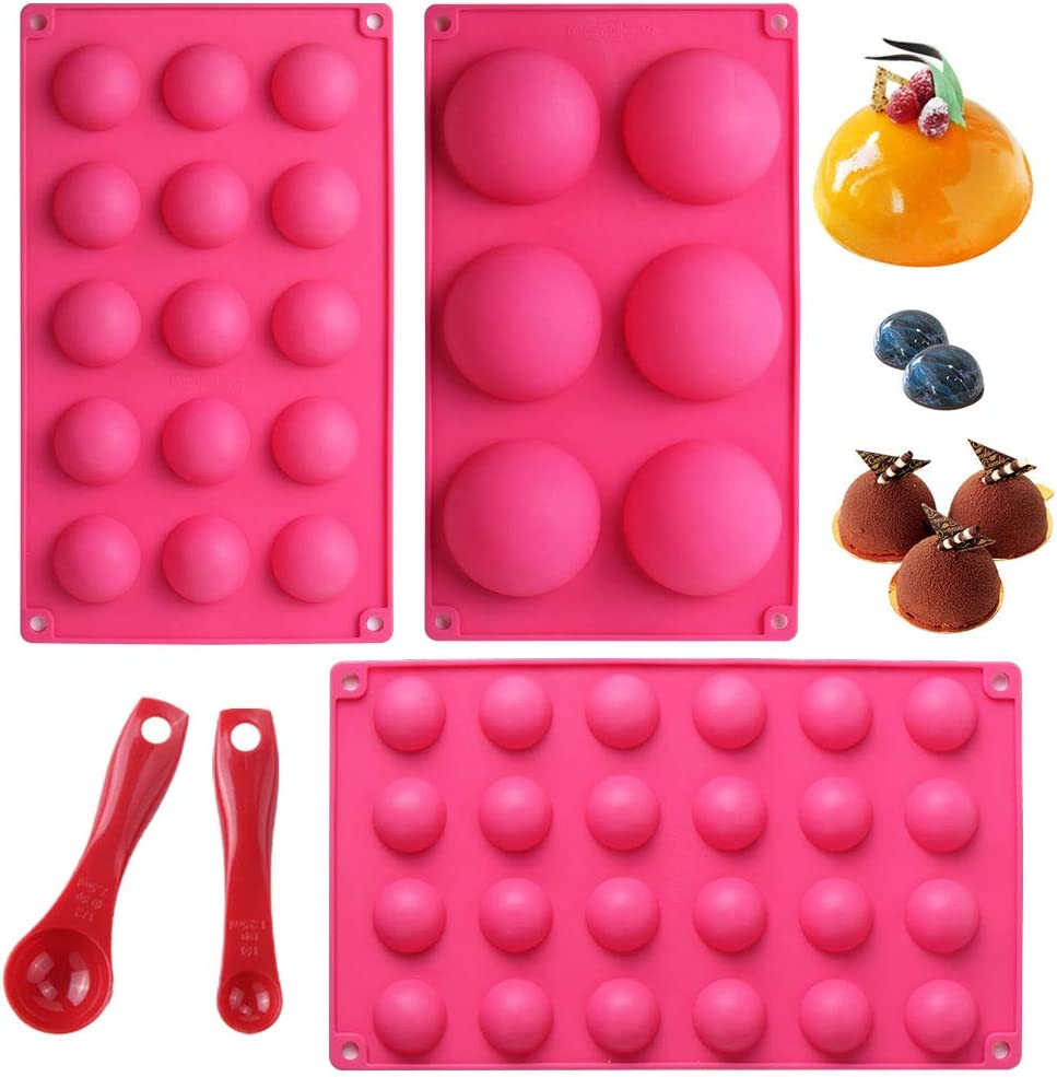 Webake Silicone Round Sphere Baking Mold Set of 3, Hemisphere Molds For Chocolate Candy, Jello, Mousse, Cake Decoration, LFGB European Food Grade (6 Holes,15 Holes, 24 Holes) Include 2 Filling Scoop