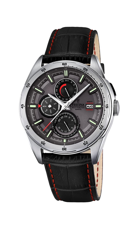 3453fe88aa98 Para hombre Festina reloj infantil de cuarzo con esfera analógica gris y correa  de cuero negro f16877 3
