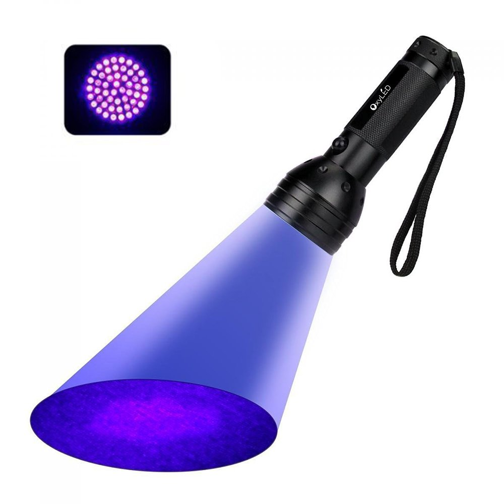OxyLED UV Flashlight,UV Torch Blacklight, 51 LED UV Flashlight Pets Urine Light Detector,for Detecting Dogs/Cats Dry Urine Stains on Carpets,Stains and Bugs at Rooms and on the Bed,Fake Banknotes 51UV