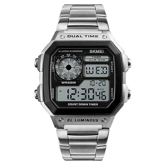 Reloj digital LCD deportivo casual para hombre con carcasa de aleación de 50 m y correa de