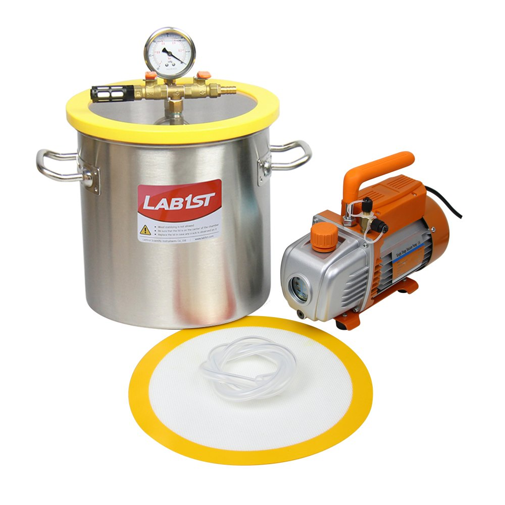 lab1st 3 Gallon Vacuum Chamber and 3.6 CFM Pump Kit for Degassing Silicone Epoxy - Not for Wood Stabilizing by LAB1ST