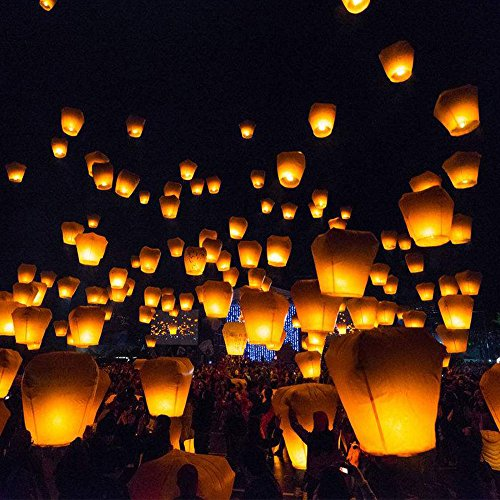 ECO Wire-Free Flying Chinese Sky Lanterns,Wishing Lantern (21 pack multicolor)