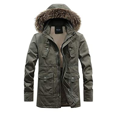 a5388aae99 Clearance WUAI Mens Athletic Jacket Outdoors Thick Warm Hooded Overcoat Fur  Collar Detachable Casual Pocket Outerwear