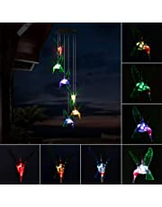 Color-Changing LED Solar Mobile Wind Chime, ALLOMN Solar Powered LED Night Light Waterproof Wind Chimes for Outdoor Garden Party Christmas Decoration …