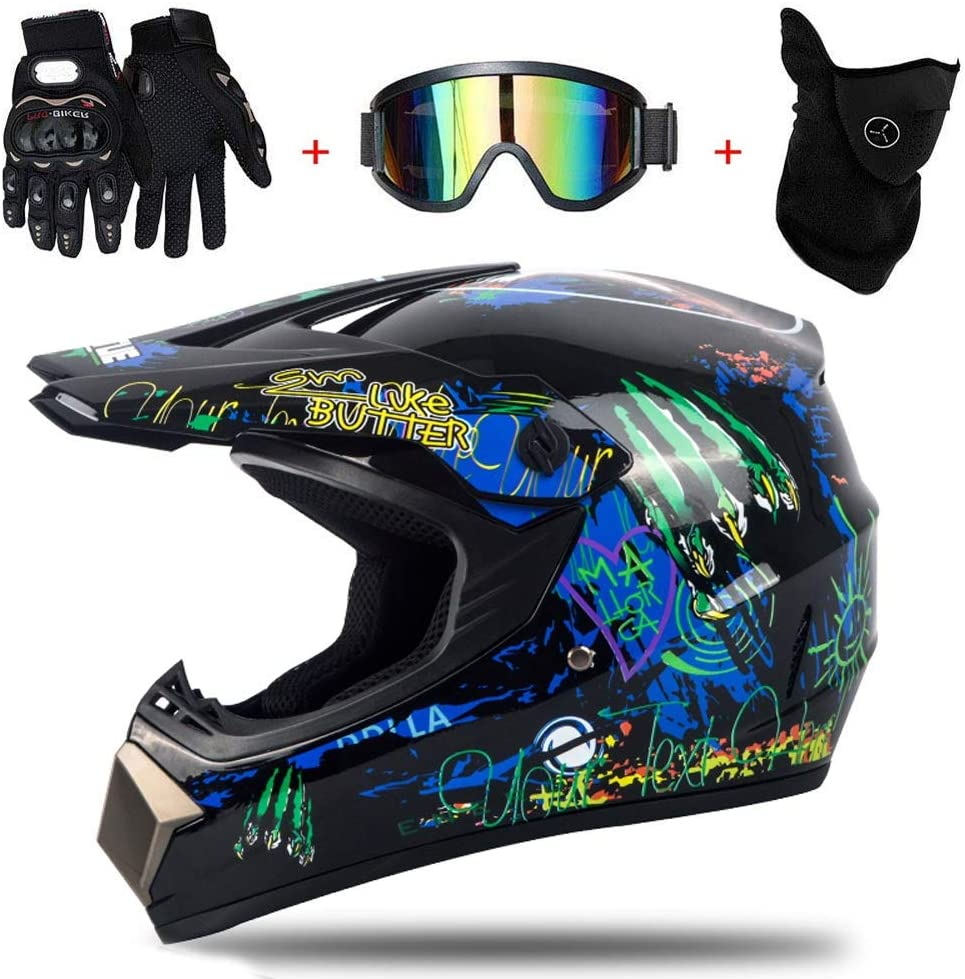AMITD Casco de Motocross para Niños, Casco Adulto Casco de Motocross Todoterreno Off Road Dirt Bike MX Juego de Casco Road Racing Regalo del niño para Adultos Unisex, L(56~57)