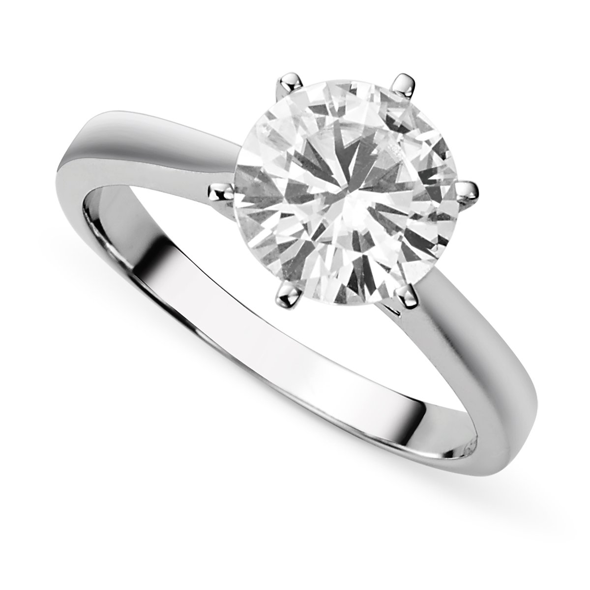 14K White Gold Moissanite by Charles & Colvard 9.5mm Round Engagement Ring-size 6, 3.10ct DEW