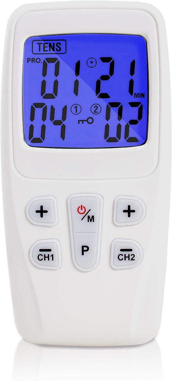 Aparato TENS 3-en-1 | aparato de corriente de estimulación con 22 programas para el tratamiento del dolor | | masaje muscular | incluyendo 4 almohadillas de electrodos con conexión de 2 canales