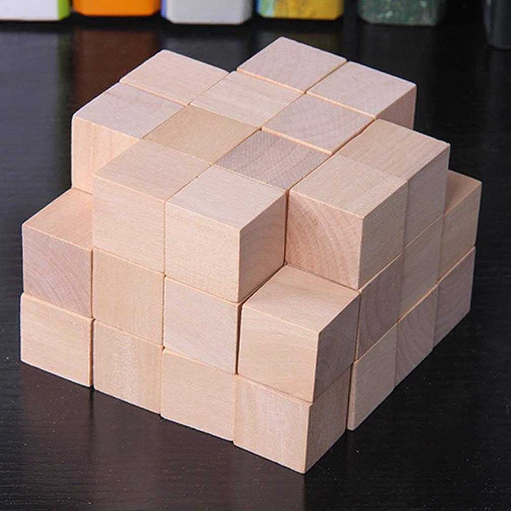 SUPVOX 50 pcs cubes en bois carr/és carr/és blocs en bois pour bricolage artisanat peinture et mat/ériaux de d/écoration 2 cm color/é