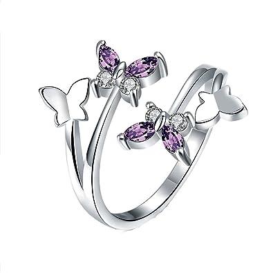 YEAHJOY Women's Adjustable Size Volly Open Rings Butterfly Shape Purple Austrian Crystals Rings ouErwK