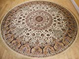 Stunning Silk Rug Persian Traditional Area Rugs Round Rugs Living Room Circle Rugs Luxury 6 Foot Silk Brand High Density Foyer Round Rug (Round Shape 5.5 Foot) Review