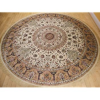 Stunning Silk Rug Persian Traditional Area Rugs Round Rugs Living Room  Circle Rugs Luxury 6 Foot
