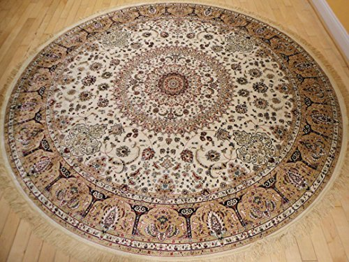 Stunning Silk Rug Persian Traditional Area Rugs Round Shape Living Room Ivory Rugs Luxury 8 Foot Circle Silk Brand High Density Rug Dining Room Rounds Rugs (Round Shape 8 Foot) by AS Quality Rugs
