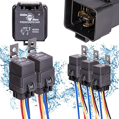 5 Pack OLS 40/30 Amp Waterproof Relay Switch Harness Set - 12V DC 5-Pin SPDT Automotive Relays 12 AWG Hot Wires for sale