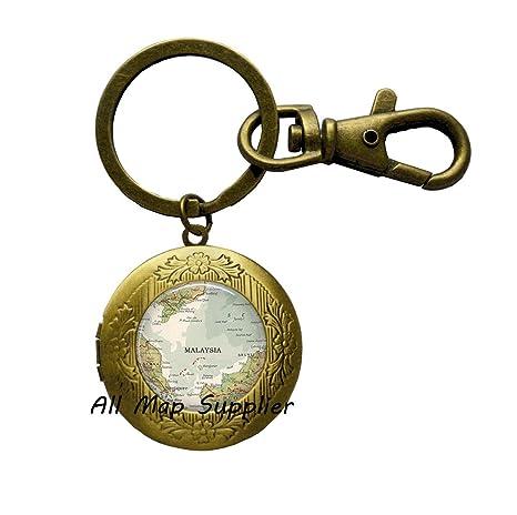 Amazon.com: Llavero encantador con diseño de mapamundi ...