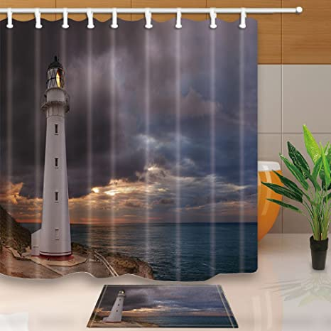 ChuaMi Lighthouse Shower Curtain Set Dark Clouds And Sunsets Over The Sea Bathroom Fabric