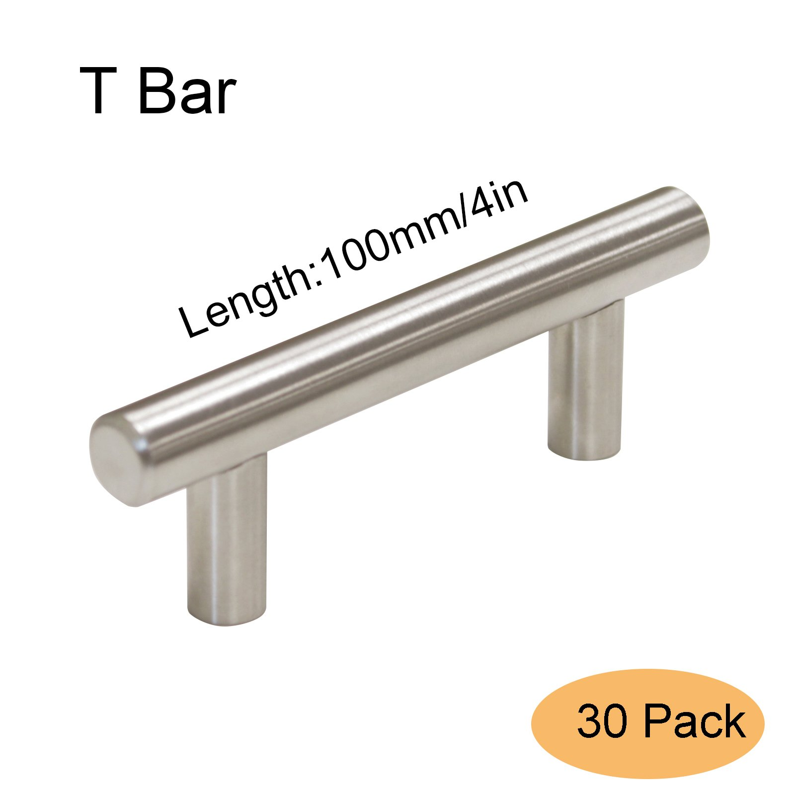 Gobrico 2.5in Hole Center Brushed Stainless Steel T Bar Door Handles 4in Overall Long Euro Style Kitchen Cabinet Drawer Pulls Knobs 30Pack by Gobrico (Image #1)