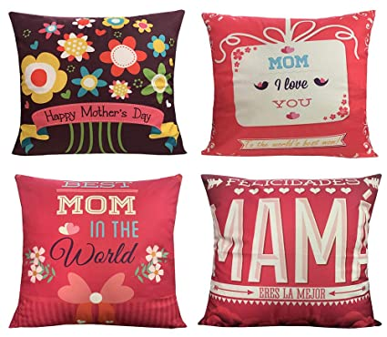 Geepro 18 x 18 inches Mothers Day Throw Pillow Cover Decorative Cushion Soft Cover Set of 4