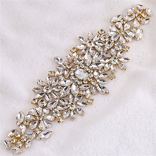FANGZHIDI Gold Crystal Rhinestone Applique Wedding Applique Bridal Applique Bridal Sash Belt Iron on Rhinestone Emebllishment Patches for Wedding Dress Crafts Bride Shoes Headband Gown Decoration (Fabulous Design Brooch)