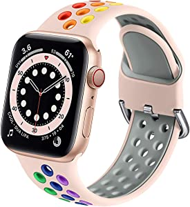 Muranne Compatible with Apple Watch Band 40mm 38mm iWatch SE & Series 6 5 4 3 2 1 for Women Men, Stylish Durable Breathable Soft Silicone Sport Watch Band, Pink/Rainbow, S/M