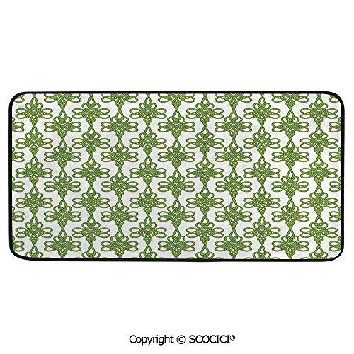 Soft Long Rug Rectangular Area mat for Bedroom Baby Room Decor Round Playhouse Carpet,Irish,Entangled Clover Leaves Twigs Celtic Pattern Botanical Filigree,39