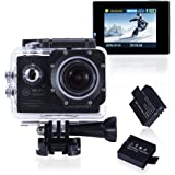 Waterproof Camera Action Camera WIFI 14MP FHD 1080P 2.0 Inch Underwater Camera 170 Ultra Wide Angle Lens Bundle With 2 Rechargeable Batteries, Easy to Use (Black, Funshare)