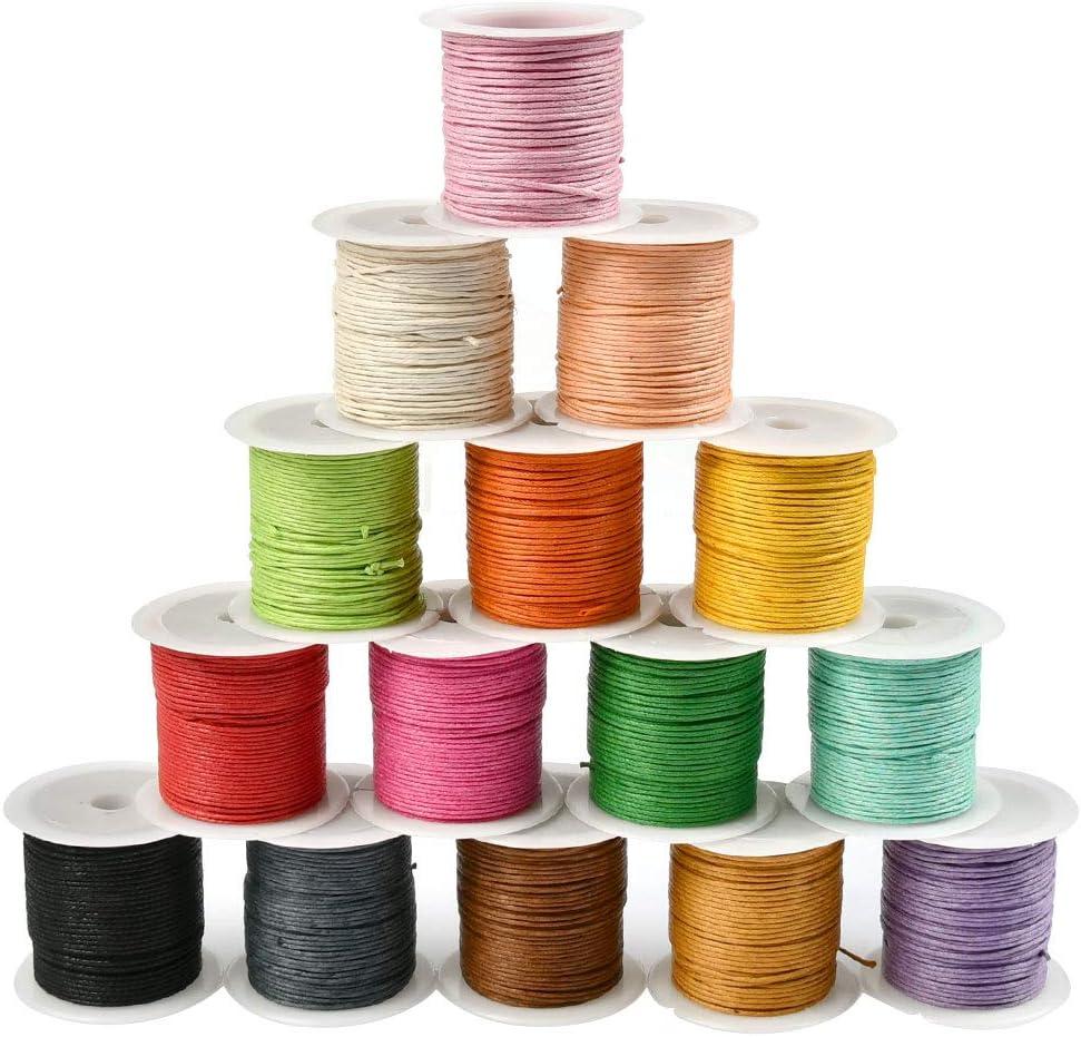 WOWOSS 15 Rollos Hilo Cuerda Encerado Joyería Cordón Cable para DIY Collar Pulsera Abalorios