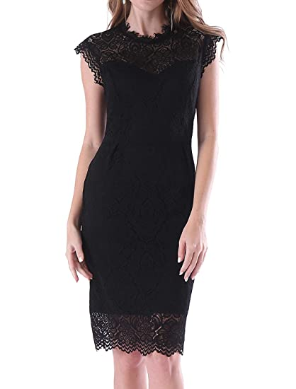 1d9a3e60dc Noctflos Long Sleeve Lace Bodycon Scalloped Knee Length Cocktail Party  Dress for Women