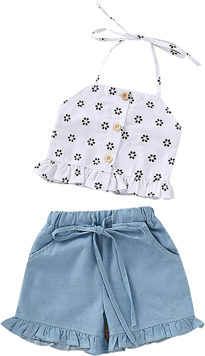 COBROO Baby Girl Cotton Short Set with Bowtie Short Sleeves Shirt Floral Short for Summer Coffee 3-6 Months