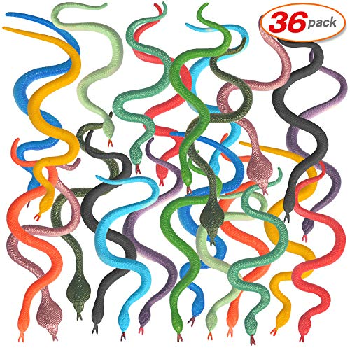 36PCS Realistic Snake Plastic Snake Rain Forest Snakes Assorted Colorful Fake Snake Toys for Novelty Toy ,Prank and Prop Gag Toy, Gift Idea, Carnival Game Prizes, Science & Nature (4.72inch)]()