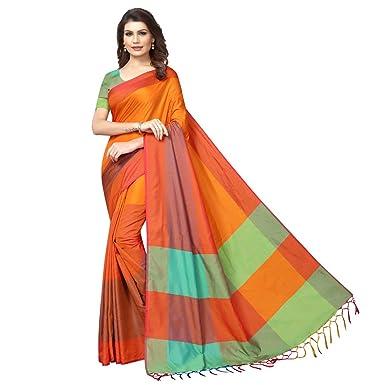 395a64501 VJ FASHION Women's Cotton Silk Self Design Saree with Blouse Piece (Orange)