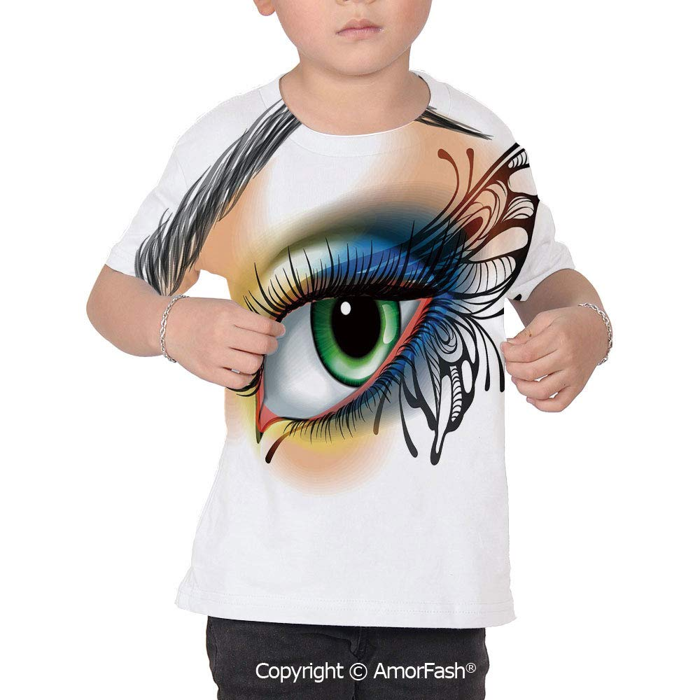 PUTIEN Eye All Over Print T-Shirt,95/% Polyester,Childrens Short Sleeve T-ShirtFantasy