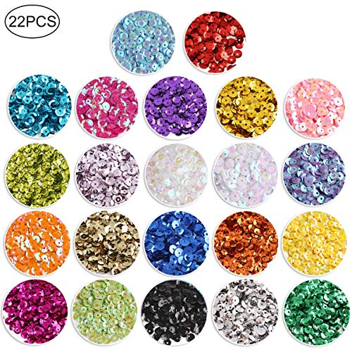 9460 PCS Cup Sequins, Bulk Mixed Colors Loose Sequins for Crafts Sequins and Spangles for DIY Making 6MM, 110 Gram