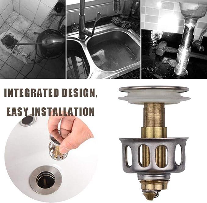 1pcs Universal Wash Basin Bounce Drain Filter pop up drain stopper Universal Size Sink Drain Stopper for Kitchen Bathroom