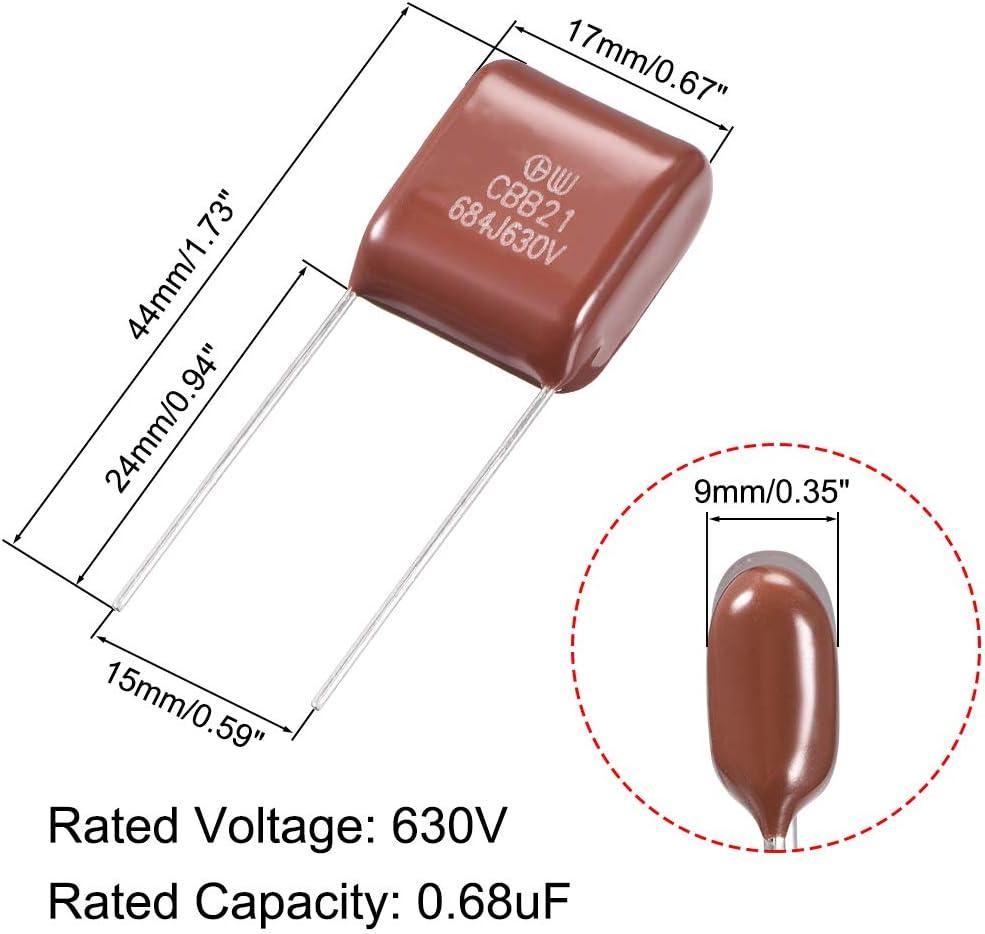 sourcing map CBB21 Metallized Polypropylene Film Capacitors 630V 0.68uF for Electric Circuits Energy Saving Lamp 5pcs
