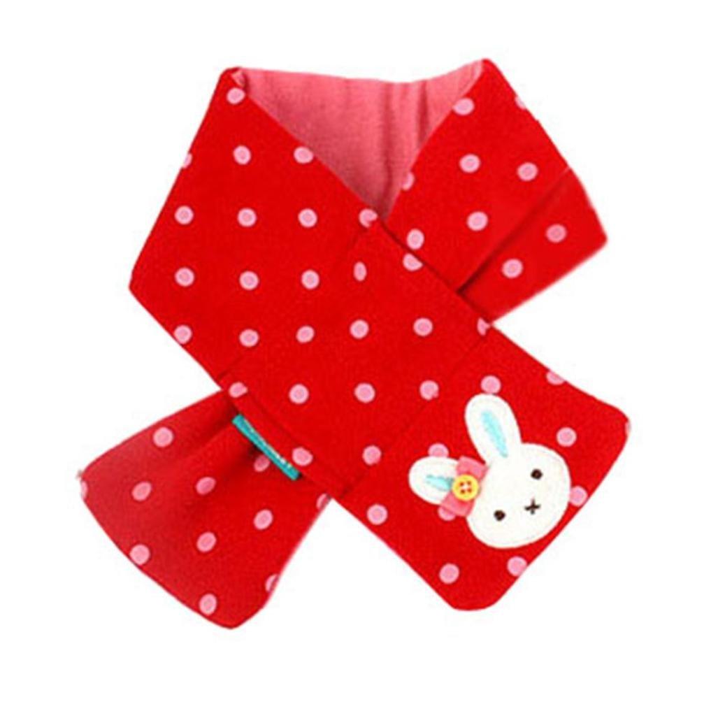 Koly Girls Baby Kids Winter Scarf Warm Shawl Rabbit Style Neck Warmer (Red) Koly-FB010