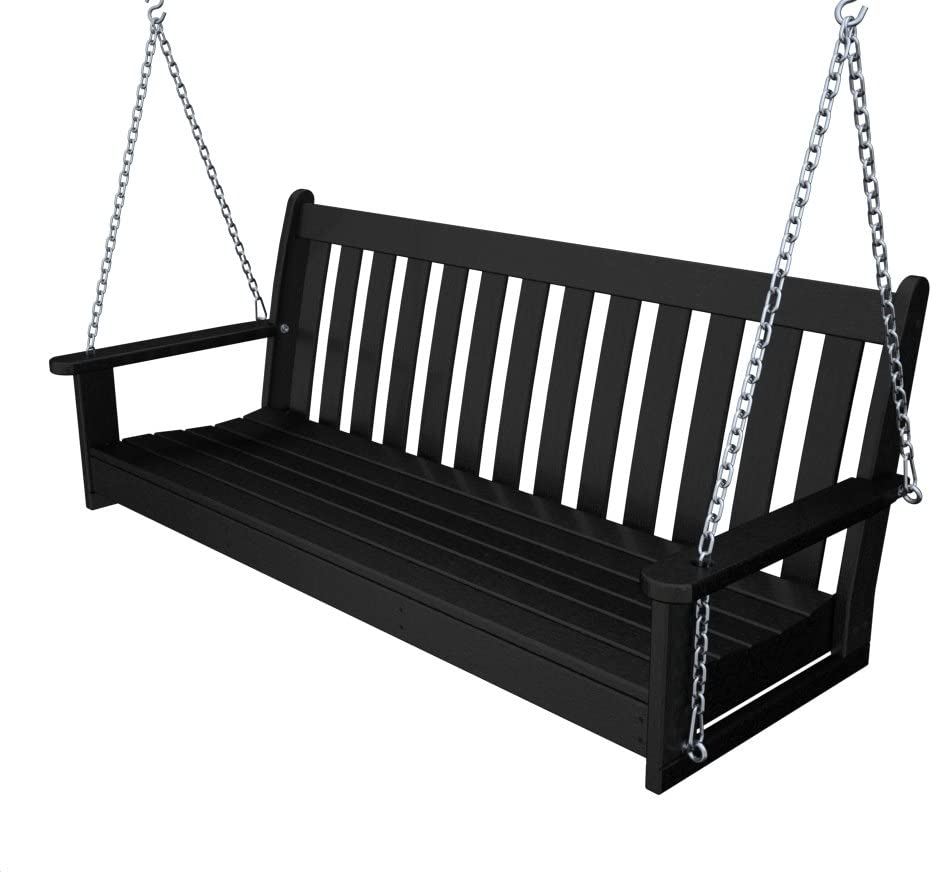 Recycled Plastic 60 Swing Includes Chain Kit by Polywood Frame Color Black