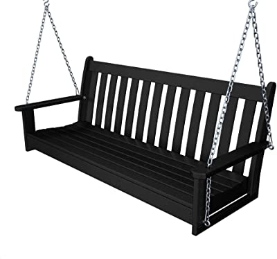 """Recycled Plastic 60"""" Swing (Includes Chain Kit) by Polywood Frame Color: Black"""
