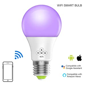 Magic Hue Smart WiFi Light Bulb, No Hub Required, Multicolored Dimmable iOS Android App Alexa Google Voice Controlled Sunrise Wake Up Smart Lights