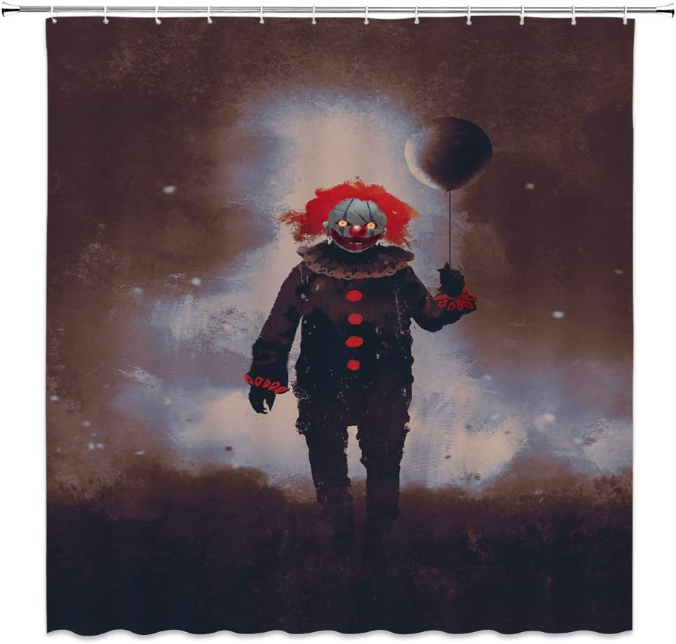 Clown Retro Shower Curtain Halloween Decor Weird Clown with Heavy Makeup Evil Demon Vintage Clothes Balloon Stroll Night Nostalgic Art Print,Gray Brown Fabric Hooks Included 70x70 Inch