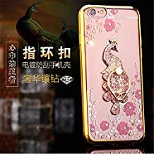Galaxy Note 5 Case,Secret Garden Butterfly Floral Bling Swarovski Rhinestone Diamond Peacock Tail Shape 360 Degree Rotating Ring Kickstand Holder Case for Samsung Galaxy Note 5(Gold-Pink Flower)